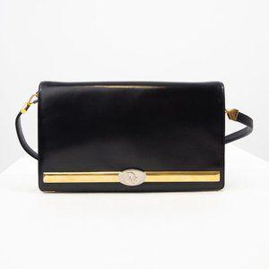 Dior Rare Vintage Leather Logo Baguette Navy Blue